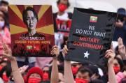 Warga Myanmar Gelar Aksi Menolak Kudeta Militer di Taiwan