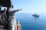 Puluhan Kapal Perang TNI AL Laksanakan Peperangan Uji Kemampuan Teknologi di Perairan Laut Jawa