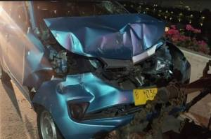 Kecelakaan di Tol Wiyoto Wiyono, Sebuah Taksi Alami Kerusakan Cukup parah