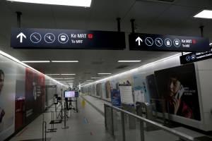 Stasiun MRT Bundaran HI yang Sepi Akibat PPKM