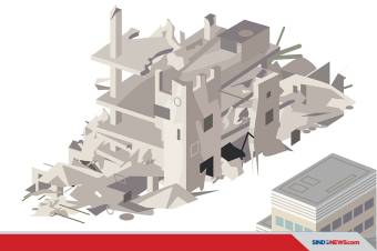 Gedung Bertingkat Tiga Di Cideng, Jakarta Pusat Ambruk