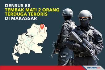 Densus 88 Tembak Mati 2 Orang Terduga Teroris di Makassar