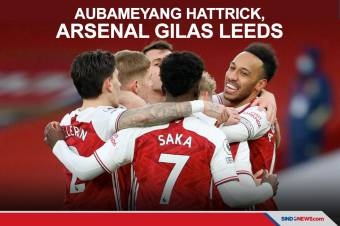 Aubameyang Cetak Hattrick, Arsenal Sukses Gasak Leeds United