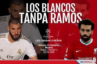 Los Blancos Tanpa Sergio Ramos saat Menjamu Liverpool