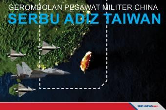 Gerombolan Pesawat Militer China Serbu ADIZ Taiwan