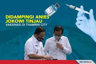 Didampingi Anies, Jokowi Tinjau Vaksinasi di Thamrin City