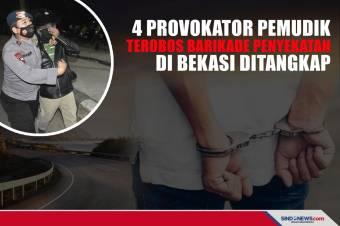 4 Provokator Pemudik Terobos Barikade Penyekatan Bekasi DItangkap