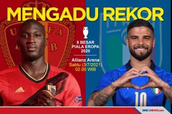 Mengadu Rekor Italia dengan Belgia di Perempat Final Piala Eropa
