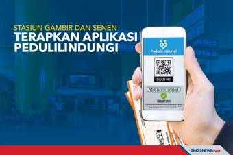 Stasiun Gambir dan Senen Terapkan Aplikasi PeduliLindungi