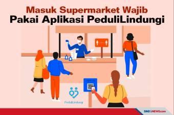 Masuk Supermarket Wajib Pakai Aplikasi PeduliLindungi