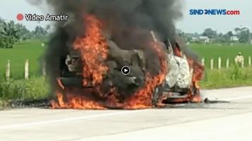 Mobil Terbakar di Tol Tebingtinggi-Meda, Diduga Akibat Korsleting