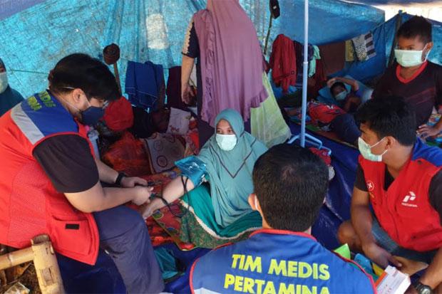 Tim Pertamina Keliling Posko Periksa Kesehatan Warga Terdampak Gempa