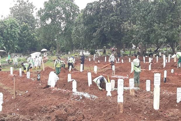 Makam Baru Covid di TPU Bambu Apus: Hari Ke-1 9 Jenazah, Hari Ke-2 37 Jenazah, Hari Ke-3 40 Jenazah