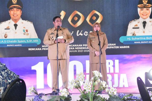 Bupati dan Wakil Bupati Maros Ekspose 100 Hari Kerja