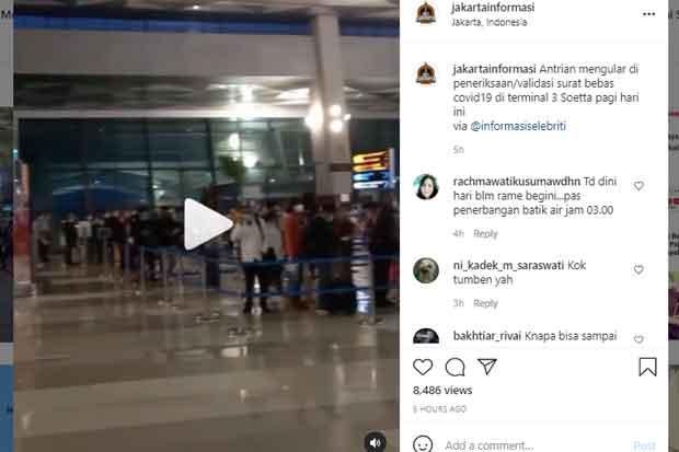 Antrean Tes Covid-19 di Bandara Soetta Mengular, Netizen: Periksanya Manual