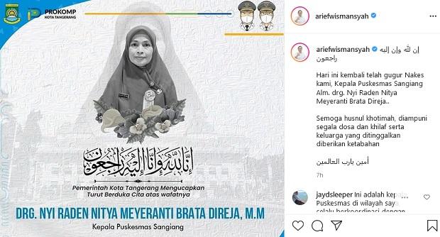 Wali Kota Tangerang Berduka, Kepala Puskesmas Sangiang Drg Nyi Raden Meninggal Dunia