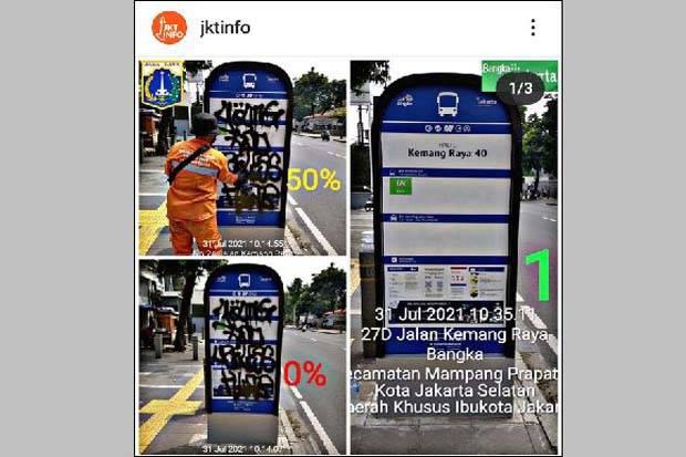 Bersihkan Coretan di Papan Petunjuk, PT Transjakarta Apresiasi PPSU Kelurahan Bangka