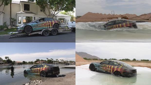 Terinspirasi Mobil James Bond, Youtuber Bikin Aksi Nekat Tesla Kapal Selam