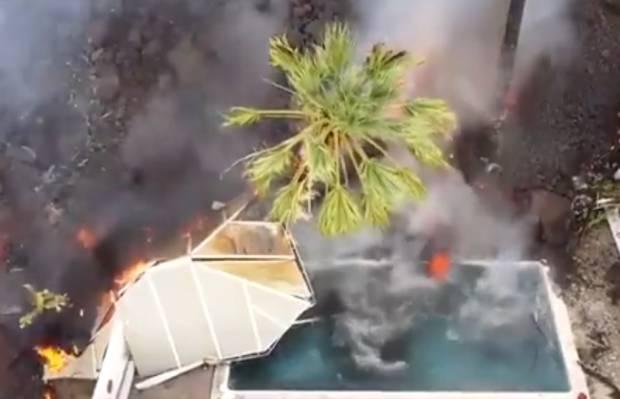 Viral! Celah Vulkanik Baru Terbuka, Air Kolam Menguap Terkena Lahar di Canary