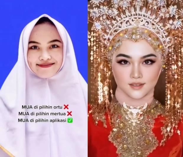 Viral! Wanita Pamer Makeup Pengantin Pakai Aplikasi, Cantik Banget