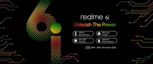 It turns out that realme 6i is provided with a notch, Selfie camera, 16 MP, rechargeable battery with 5,000 mAh