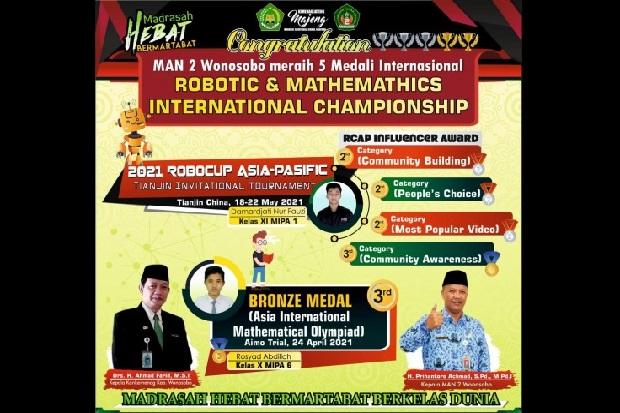 Keren! MAN 2 Wonosobo Borong 5 Medali Internasional Bidang Robotik dan Matematika