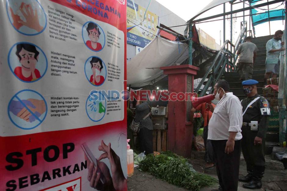 Polisi Militer Gelar Razia Masker di Pasar Karanganyu Semarang-2