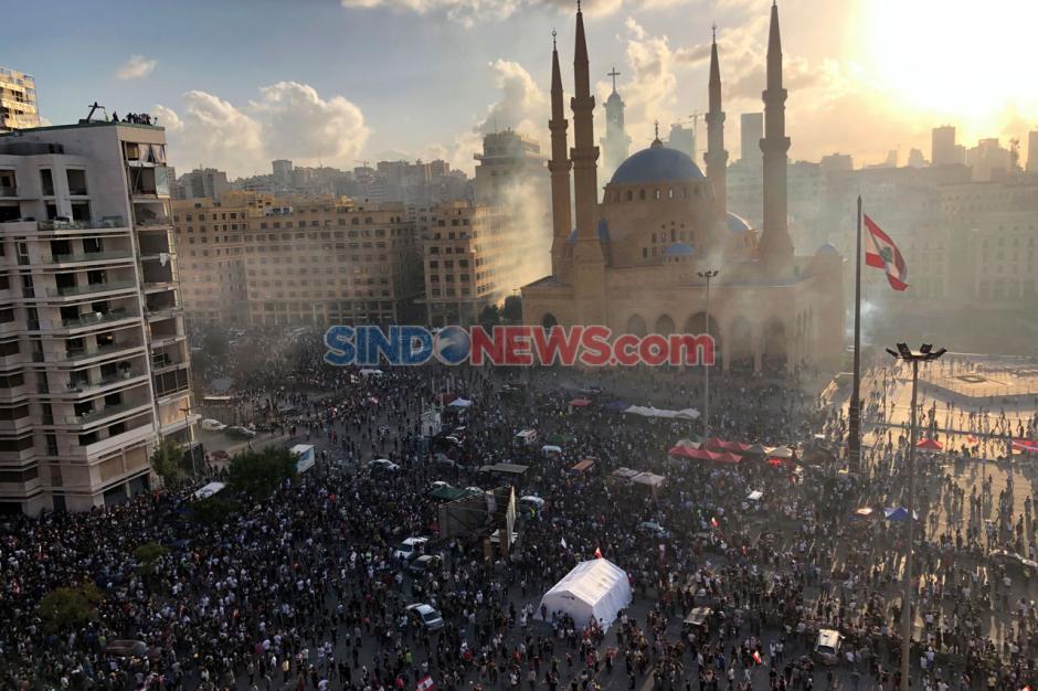 Demo Ricuh Pecah Pasca Ledakan Dahsyat di Beirut Lebanon-4