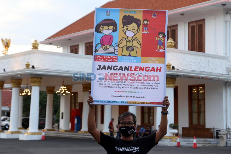Wartawan dan BPBD Jatim Sosialisasikan Protokol Kesehatan Covid-19-2