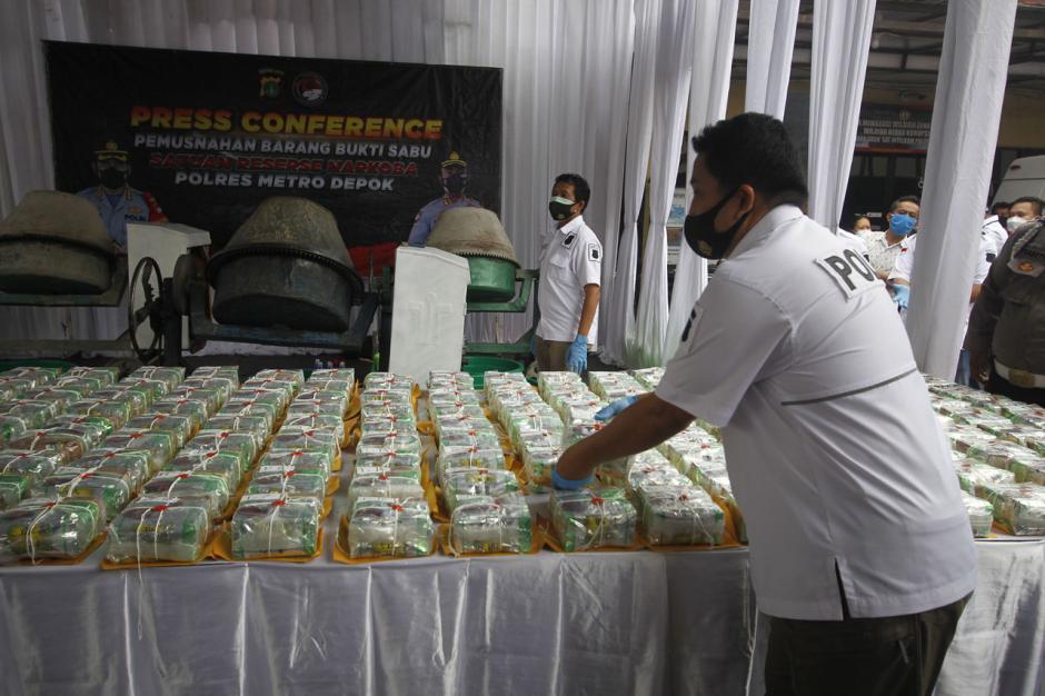 Polres Depok Musnahkan 302 Kg Sabu Asal Jaringan Narkotika Internasional-2
