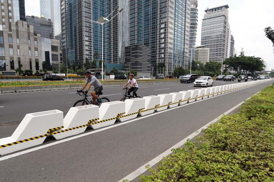 Minim Sosialisasi, Penggunaan Jalur Permanen Pesepeda di Kawasan Sudirman Belum Maksimal-5