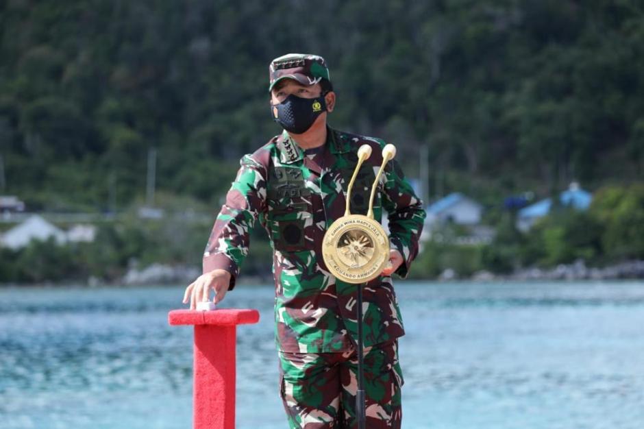 Panglima TNI Letakan Batu Pertama Pembangunan Mako Guspurla Koarmada I-4