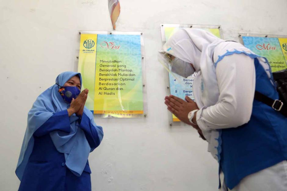 Sambut Sekolah Tatap Muka, SMP Al-Falah Surabaya Gelar Simulasi Prokes di Sekolah-5