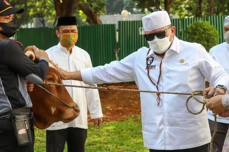 Ketua DPD RI Serahkan Hewan Kurban di Lingkungan Kesetjenan-3